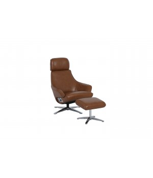 1 seater sofa recliner with stool DM02008 leather OCHRE 018