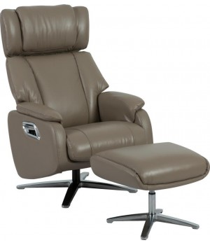 1 seater sofa recliner with stool DM02009 leather LIGHT COFFEE 20