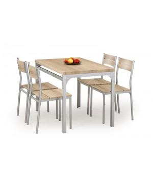 MALCOLM table + 4 chairs color: sonoma oak