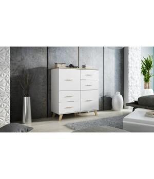 Chest of drawers LOTTA 110 (2D4S) dimond white/lsonoma oak