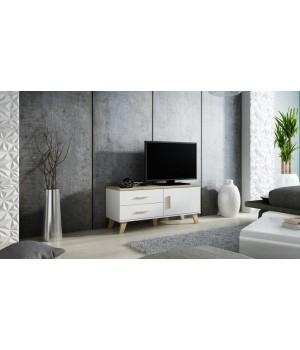 TV stand LOTTA 120 1D2S dimond white/lsonoma oak