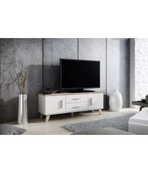 TV stand LOTTA 140 2D2S dimond white/lsonoma oak