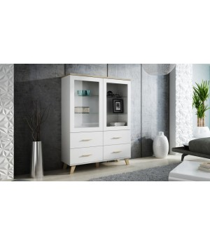 Cabinet LOTTA 120 2DSZ4S dimond white/lsonoma oak