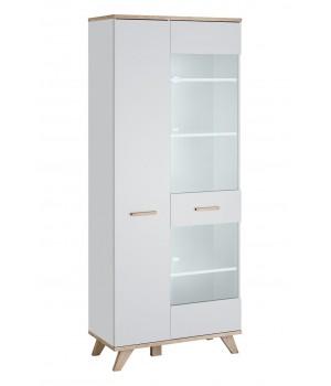 LEGG WIT/SV glass cabinet (monument oak/white)