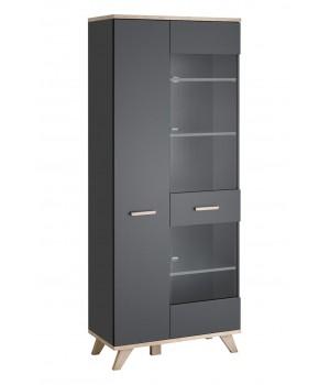 LEGG WIT/SV glass cabinet (monument oak/graphite)
